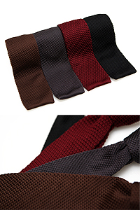 Solid color knit tie